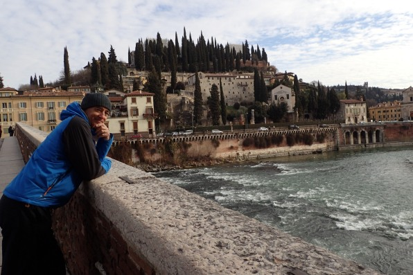 Roman Theatre and walking bridge over Adige